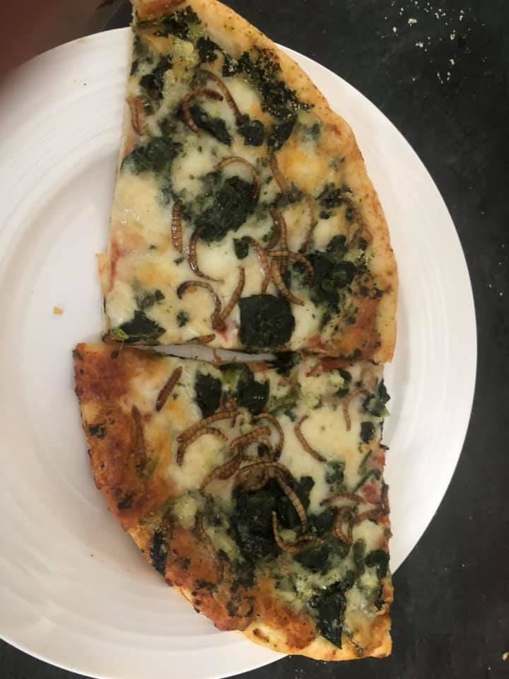 Spinach, garlic, and mealworm pizza by Eric Zay