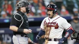 Travis d'Arnaud celebrates score, Atlanta Braves vs. Miami Marlins in Game 1 of NLDS