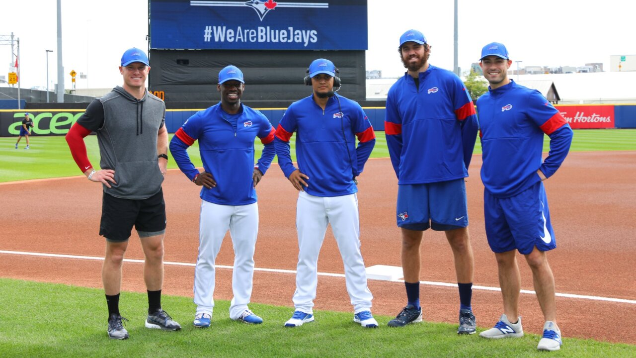 Blue Jays wear Bills gear
