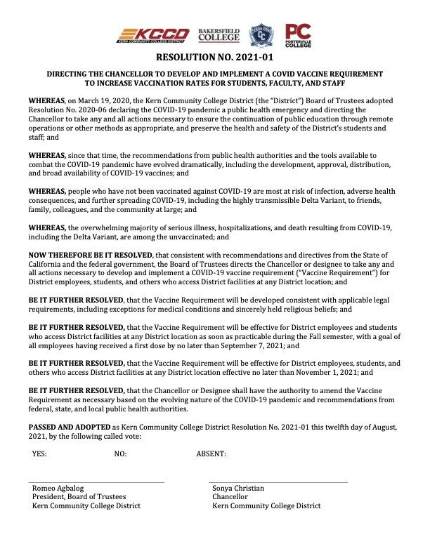 Kern Community College District Board of Trustees to require employees, students COVID vaccination