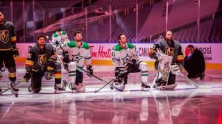 Former Buffalo Sabres goalie Robin Lehner kneels for national anthem