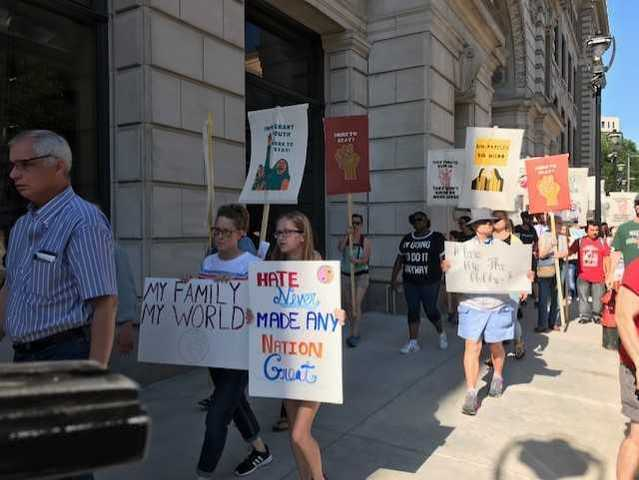 Protesters block streets, gather outside Pfister Hotel during Trump's Wisconsin visit [PHOTOS]