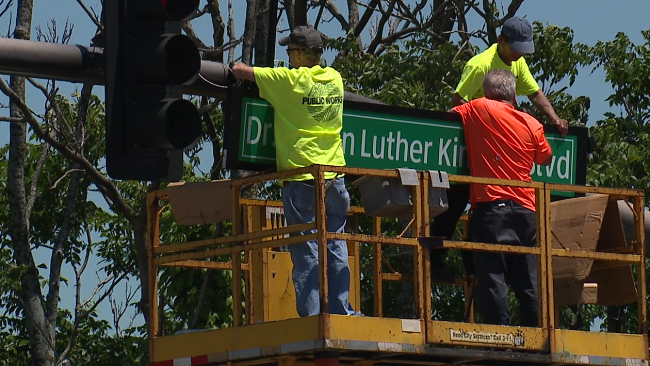 Dr. Martin Luther King Jr. signs installed.
