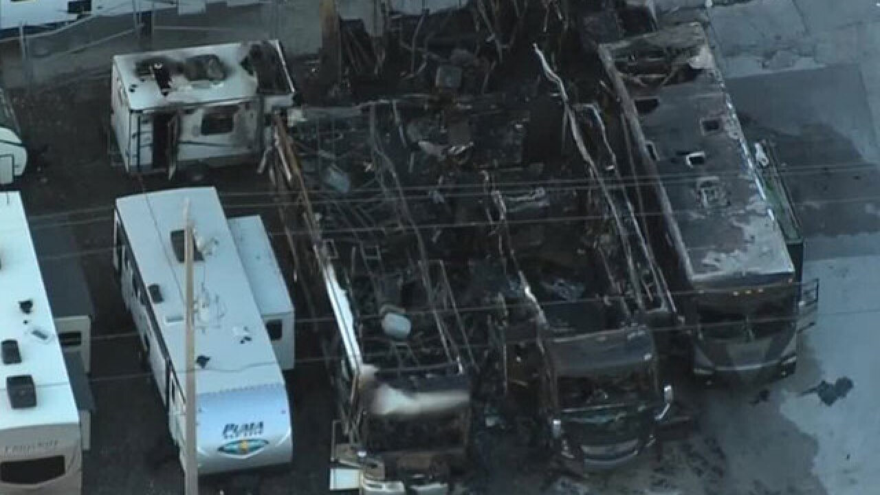 Multiple RVs destroyed by fire at Palm Beach County business