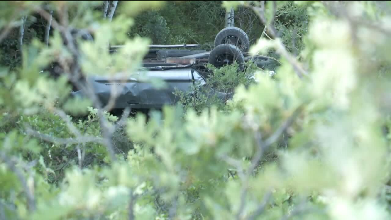 Truck drives off Utah County cliff, six injured