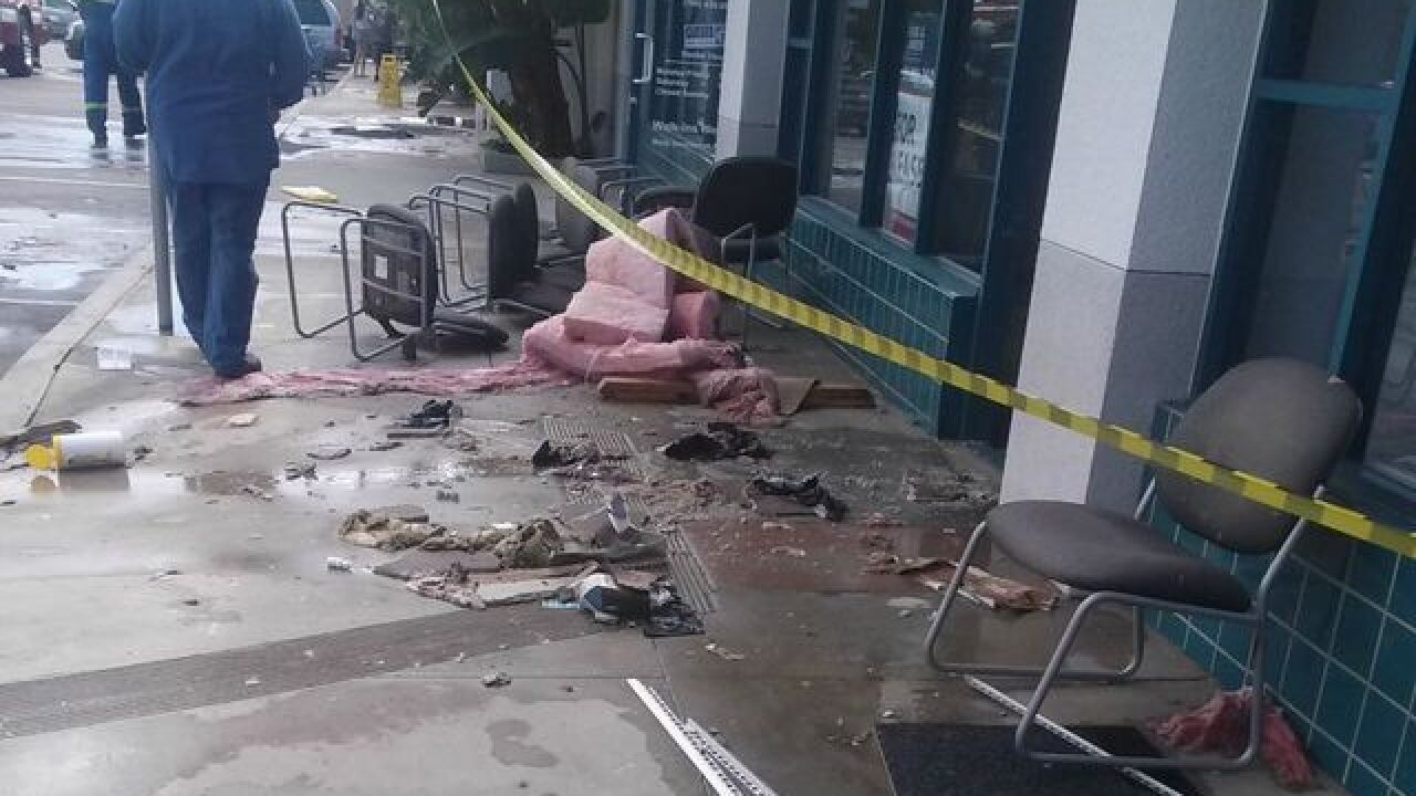 Hit-and-run: Hydrant hit, roofs collapse