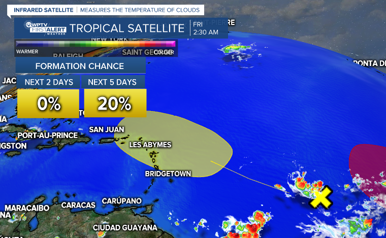 The wave in the central Atlantic that is moving towards the Lesser Antilles has a low chance of development.