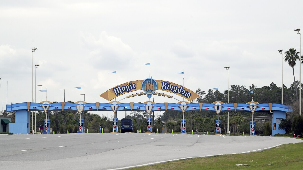Entrance to Magic Kingdom at Walt Disney World closed March 2020