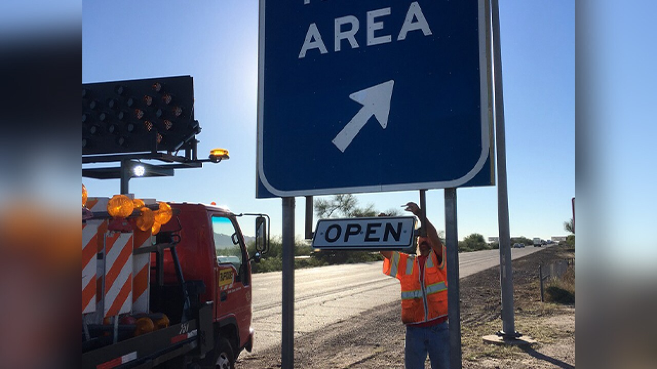 Rest area reopens between Casa Grande and Phx