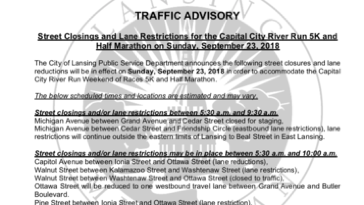Road Closure Due To Capital City River Run