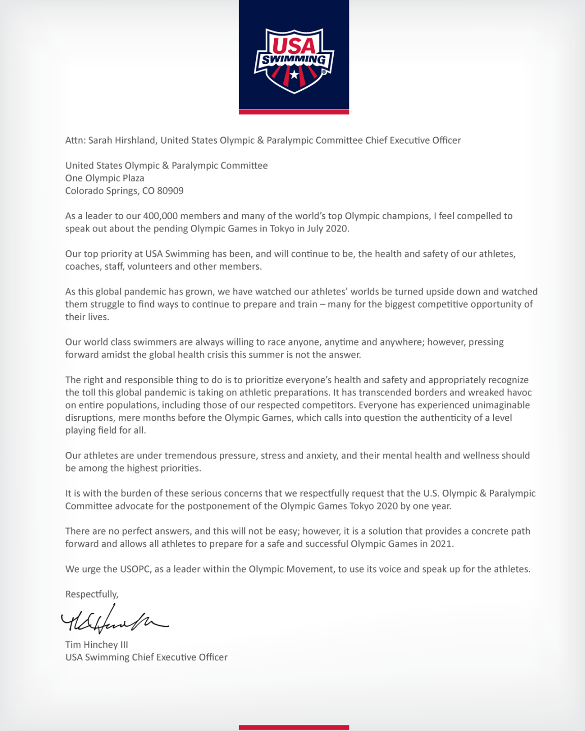 USA Swimming Letter