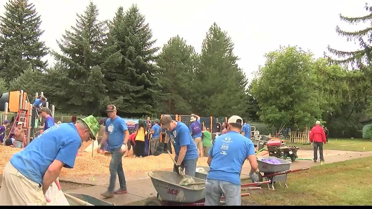 Volunteers help build new Missoula playground