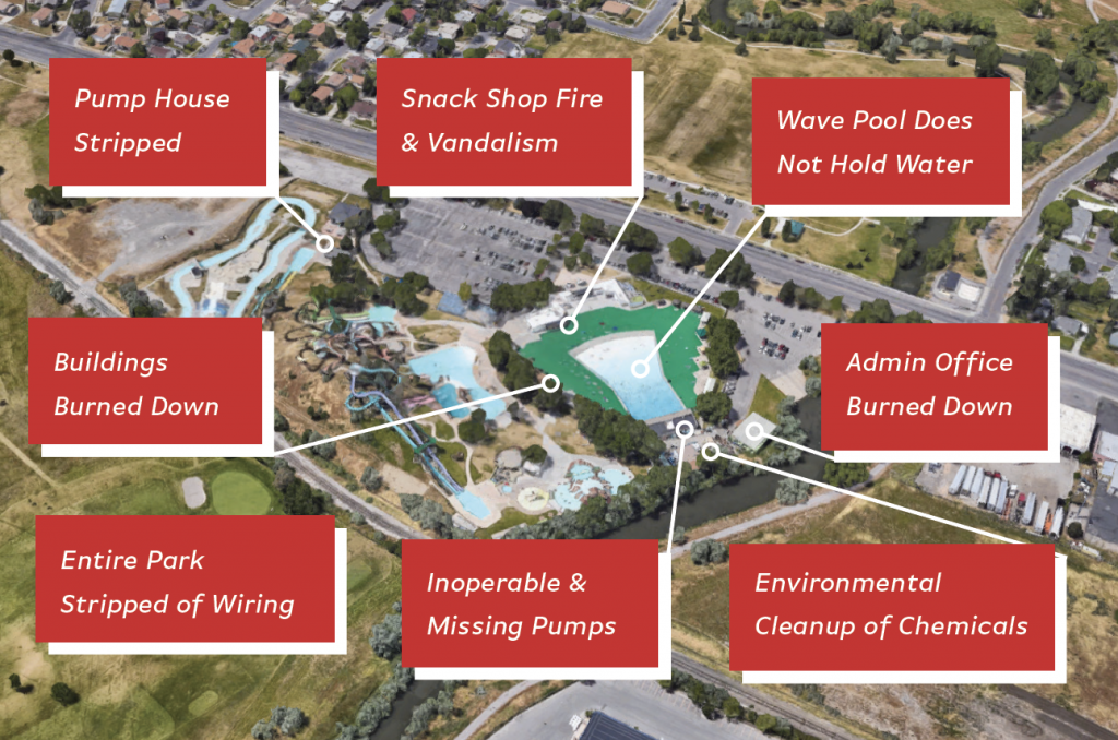Problems at vacant water park
