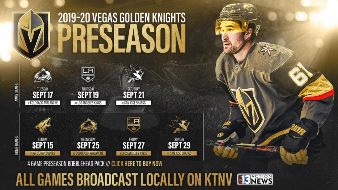 size 40 4c0ba 95e1d Vegas Golden Knights' preseason games to be shown on Channel 13