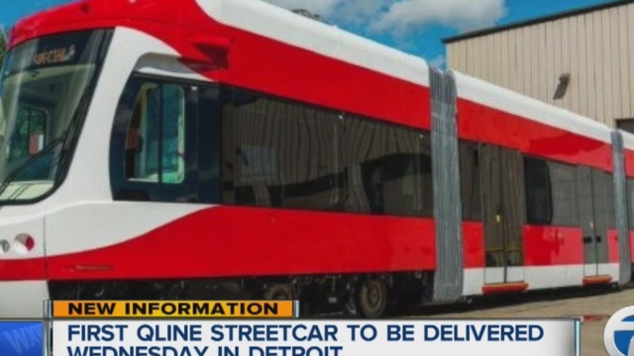 First QLINE streetcar arrives in Detroit