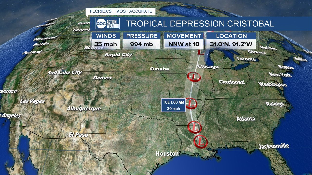 Cristobal, now a depression, continues to weaken as it moves further inland