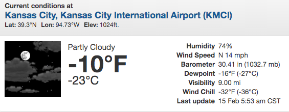 The Temperature at 6:45 AM This Morning Was 10 Below