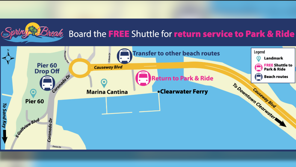 MAP Spring Break Free Shuttle To Beach