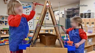 KinderCare, child care, children painting