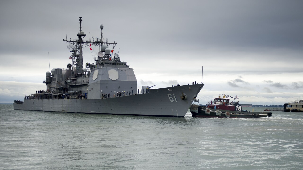 Watch: USS Monterey leaves Naval Station Norfolk on surge deployment to 5th and 6th Fleetareas