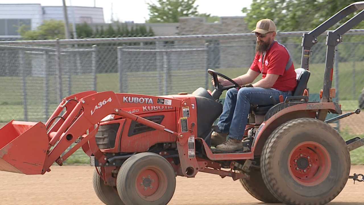 Clayton Bennett grooming the fields at WyCo Sports Association