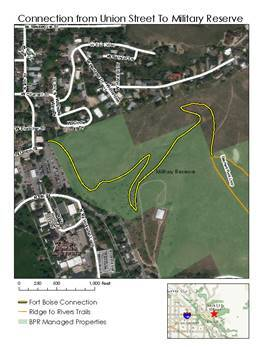 A map graphic showing the new trail that will connect to other trails in the Military Reserve area.