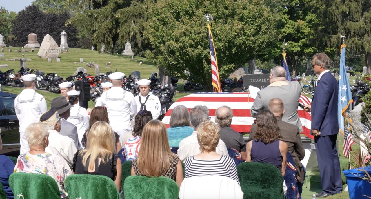Prayer being said at Francis Charles Flaherty's funeral