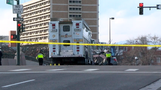 Scene after crash between car and fire truck in Denver