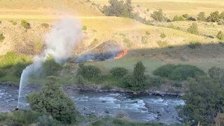 The fire spread through the grass and sage between the North Entrance Station and the Gardner River
