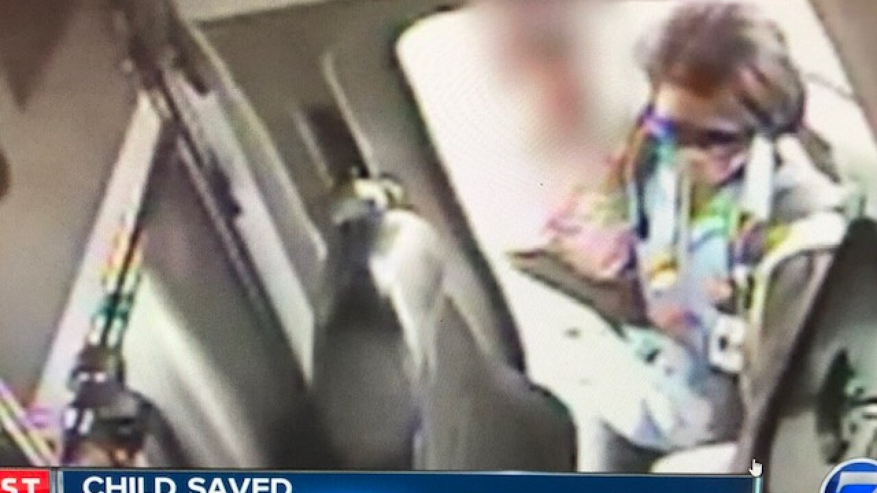 Security video shows moment bus driver spotted toddler in middle of busy Denver road