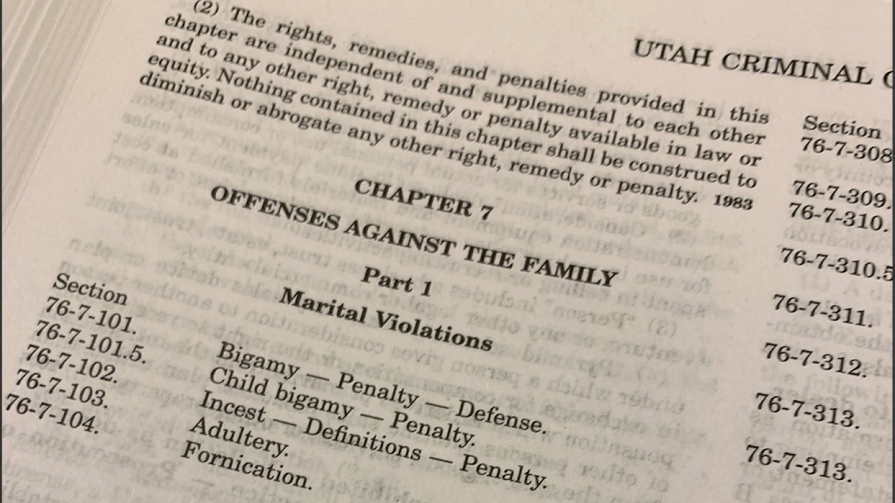 Adultery and sodomy among consenting adults are no longer illegal in Utah