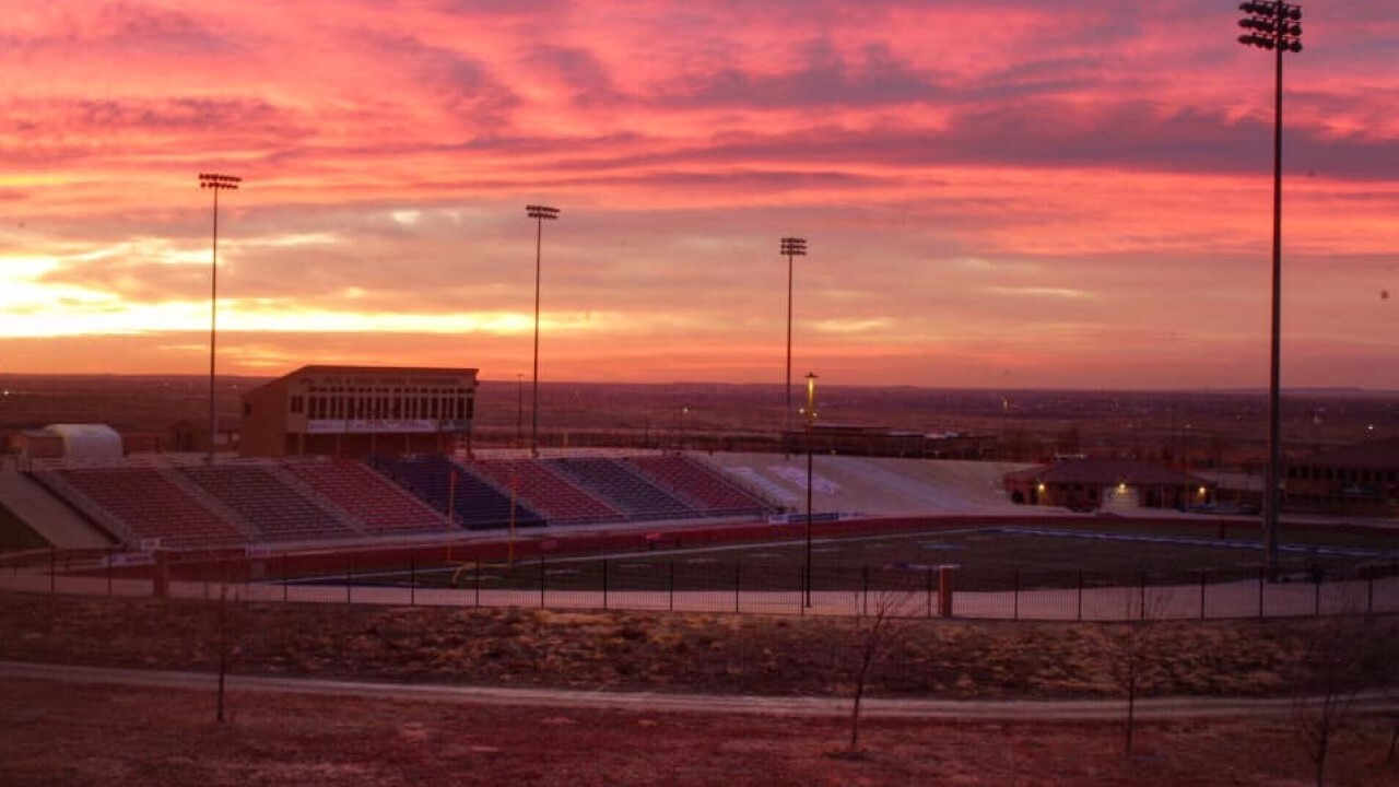 Sunrise over CSU Pueblo's Thunderbowl