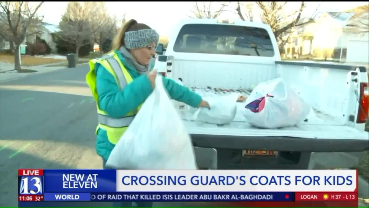 Utah crossing guard collecting coats for kids after students head to school wrapped in blankets