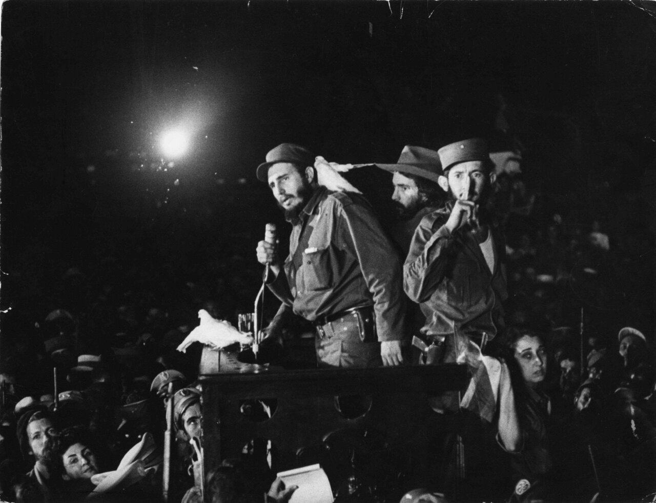 Fidel Castro speaks to supporters, Jan. 8, 1959, in Cuba