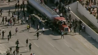 Tanker barrels into crowd of protesters on Minnesota highway