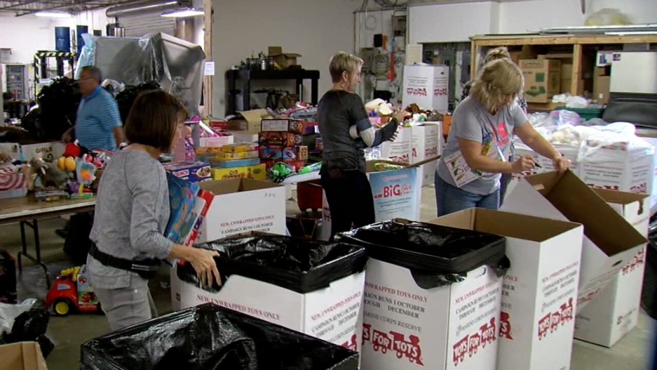 Toys for Tots using temporary warehouse.