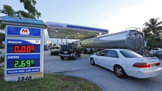 Drivers wait as truck fills empty gas tanks at Marathon gas station in Hollywood in 2016