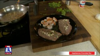 Steak and Shrimp with Garlic ButterSauce