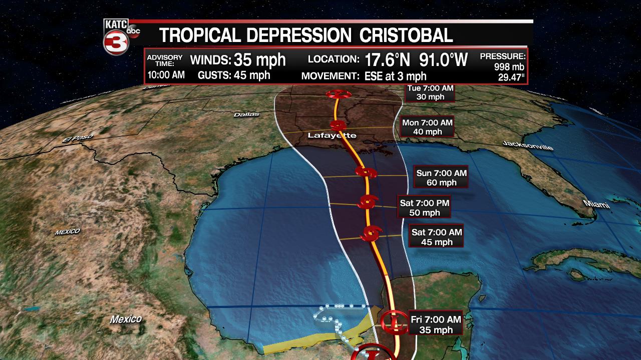 Thursday Morning Cristobal Forecast
