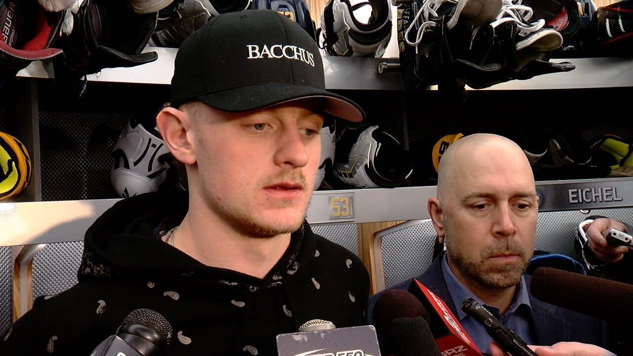 Jack Eichel speaks with reporters as 2018-2019 season comes to an end