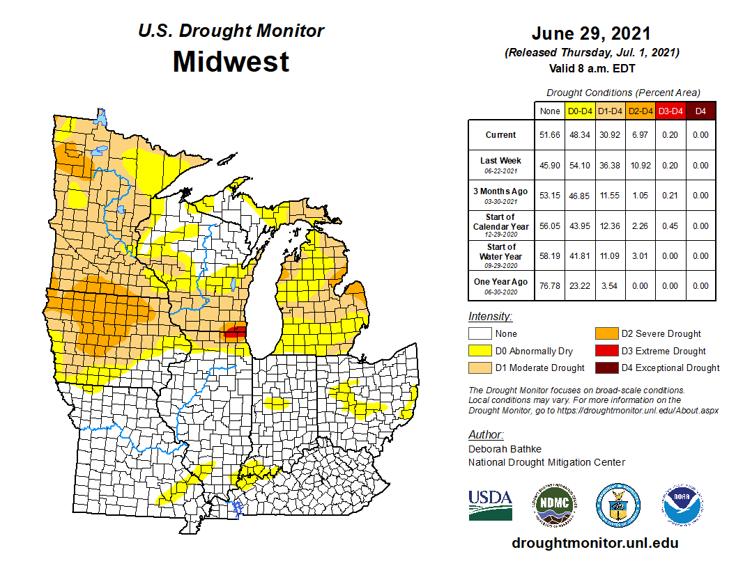 July 1 drought update; midwest