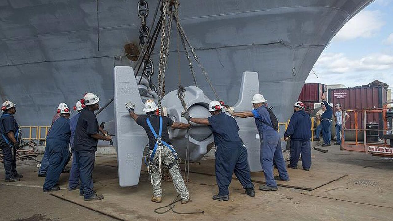 Watch: 30-ton anchor transferred from USS Enterprise to USS AbrahamLincoln
