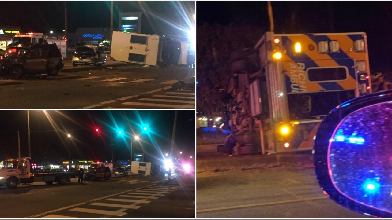4 hurt in crash involving overturned ambulance on Richmond's Southside