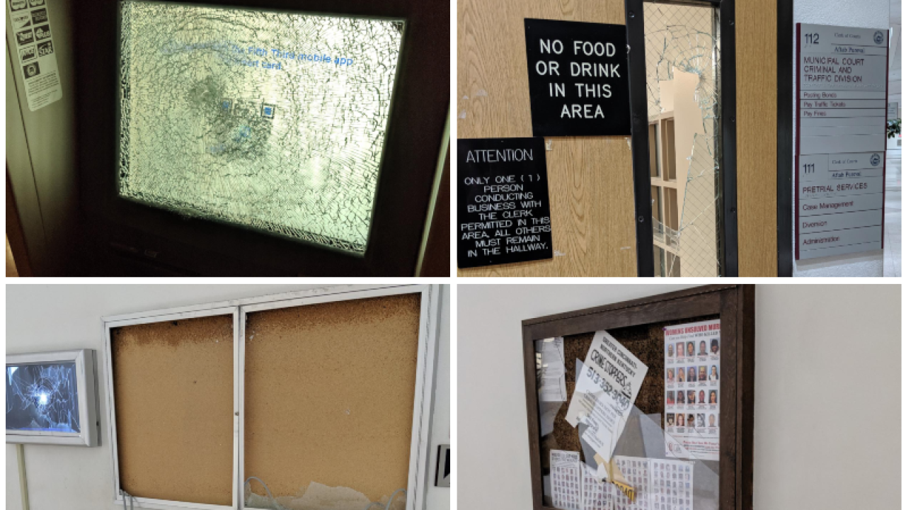 Man turning himself in to police vandalized jail lobby