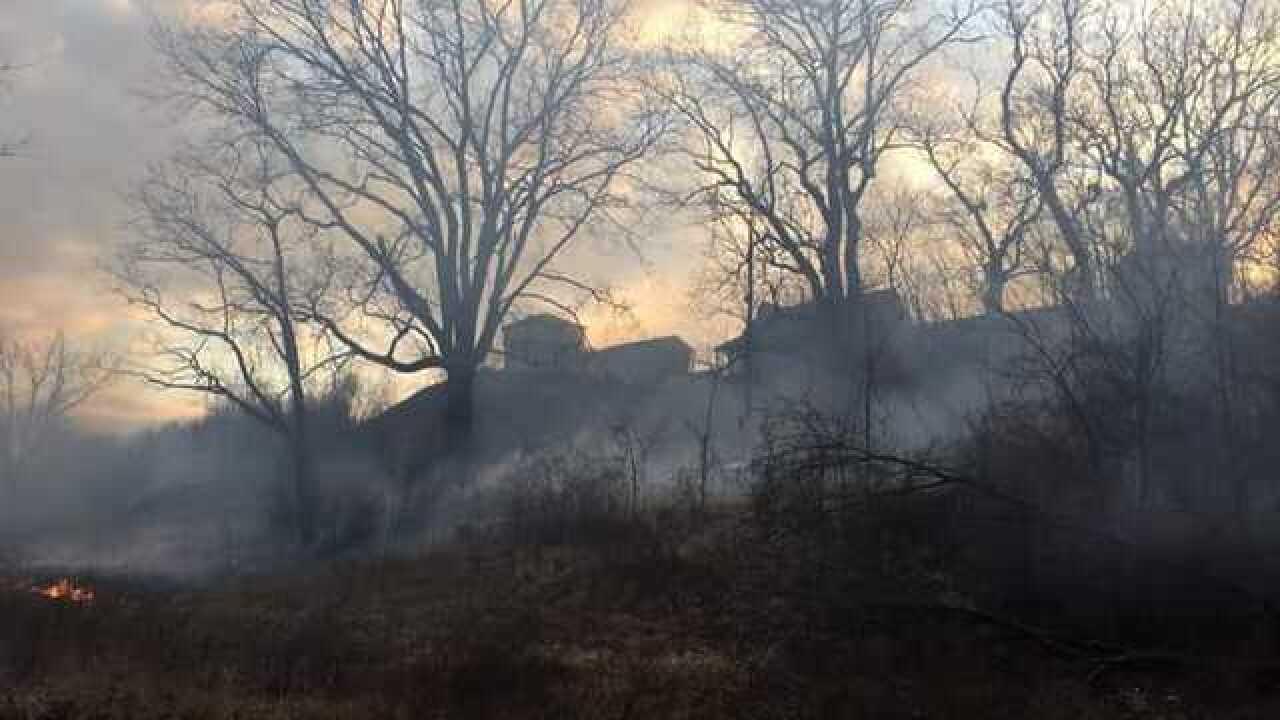 Grass fire burns Fort Osage Historic Landmark