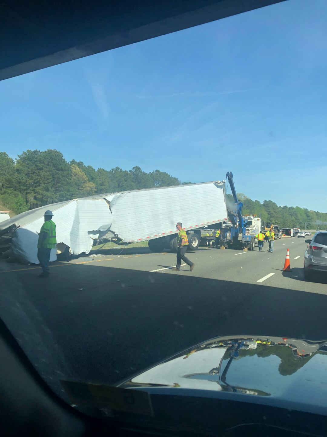 Photos: 1 killed in crash involving 2 tractor-trailers; I-64 lanes closed in Short Pump