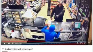 Video: Los Angeles security guard charges into 7-Eleven, fires on robbery suspects