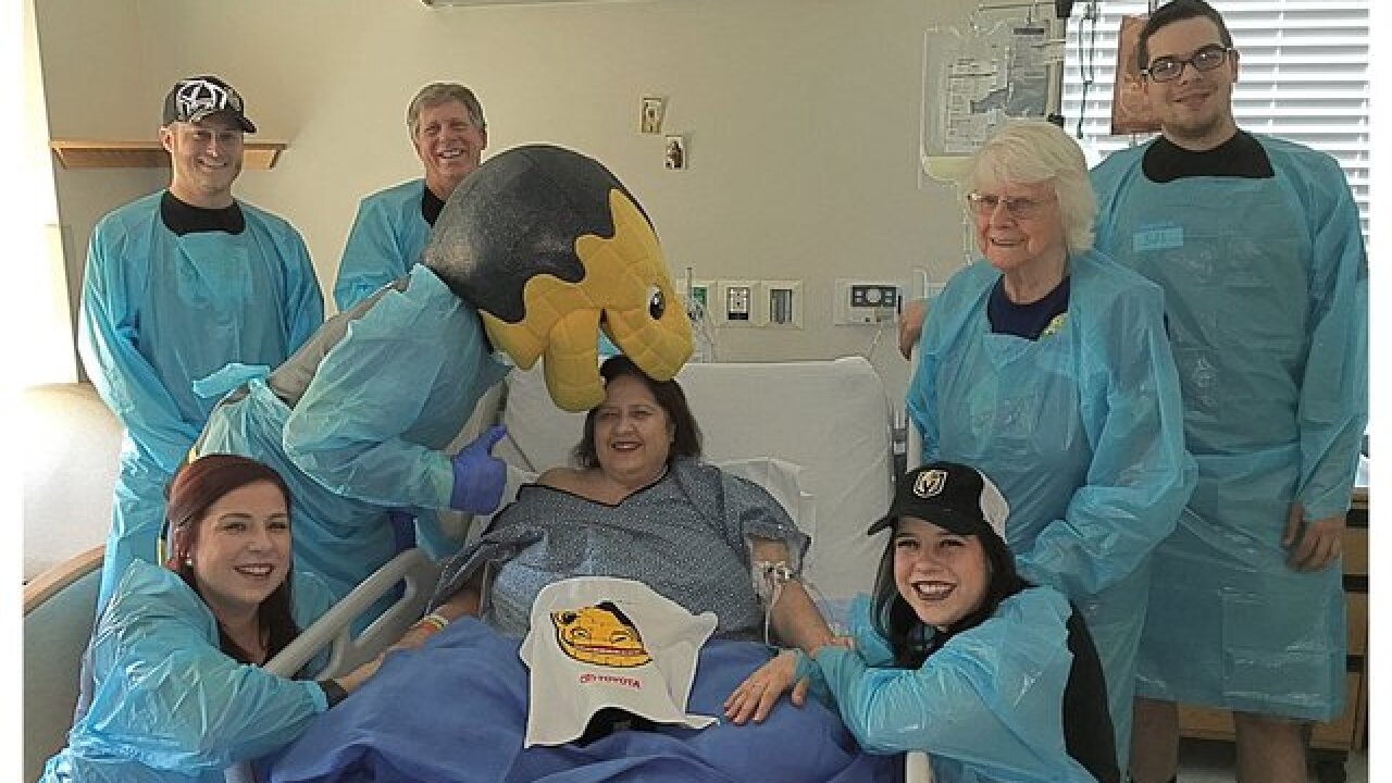 Vegas Golden Knights mascot visits 1 October survivor in hospital
