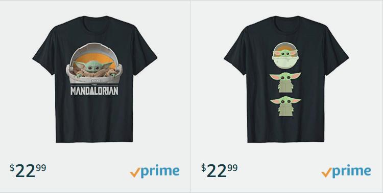 Baby Yoda Amazon t-shirts