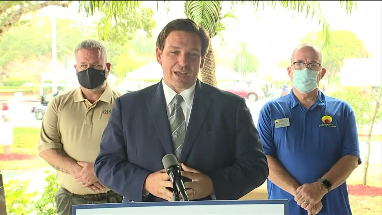 Gov. Ron DeSantis in Sun City Center, Jan. 27, 2021